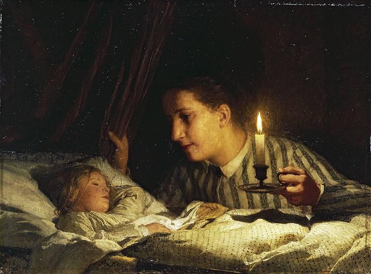 Albert_Anker_-_Junge_Mutter,_bei_Kerzenlicht_ihr_schlafendes_Kind_betrachtend