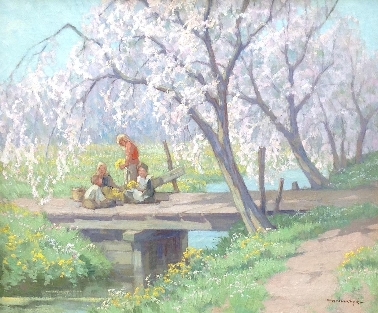 Willem Noordijk, spelende kinderen bij de kersenbloesem